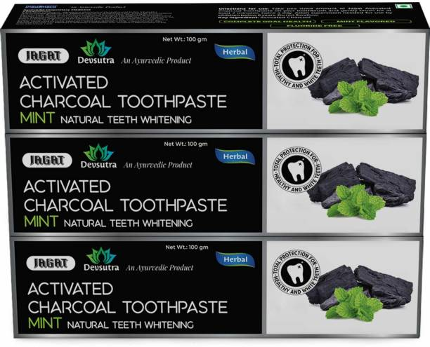 Jagat Devsutra Dr. Trusted Ayurvedic HERBAL Activated Charcoal Toothpaste for Teeth Whitening - 100% Natural Formula with Mint Flavour, No Fluoride & Artificial Colours Toothpaste