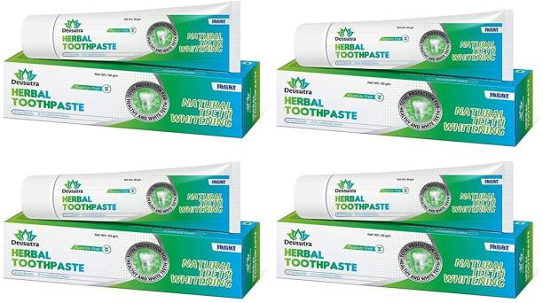 Jagat Devsutra Dr. Recommended Ayurvedic HERBAL Fresh Mint Flavour Toothpaste Combo Pack Offer - 100% Natural Teeth Whitening Formula, No Fluoride & No Artificial Colours Toothpaste