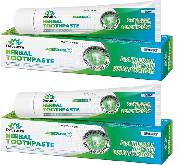 Jagat Devsutra Dentist Recommended Ayurvedic HERBAL Mint Flavored Toothpaste Combo Pack Offer - 100% Natural Teeth Whitening Formula, No Fluoride & No Artificial Colours Toothpaste