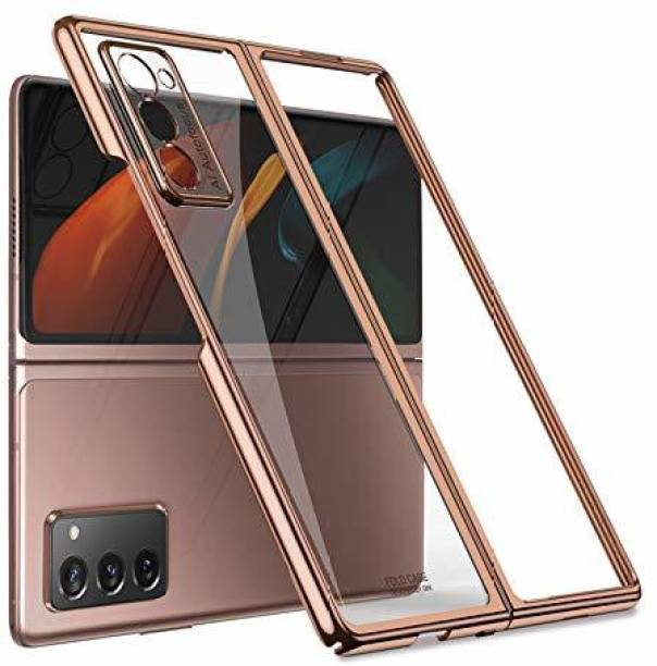 Midkart Front & Back Case for Samsung Galaxy Z Fold 2 Clear with Metallic Gold Glossy Finish Slim Hard PC Protective Case