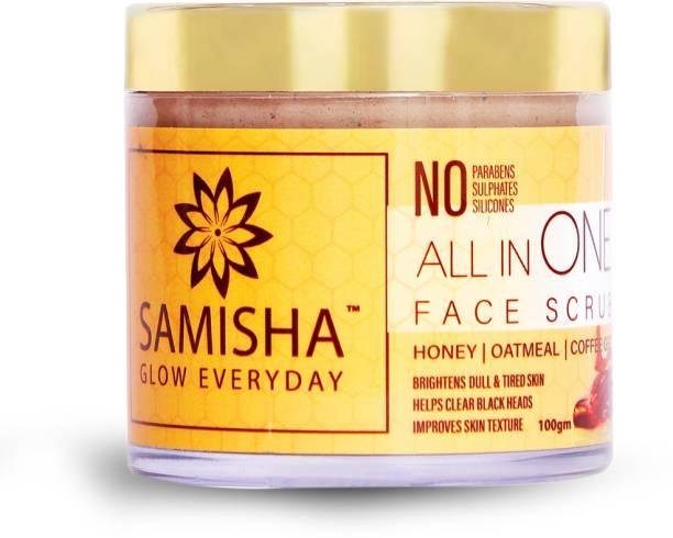 Samisha Organic All In One Face Scrub For Exfoliation, Hydration & Spot Free Clear Skin - 100 GM Scrub