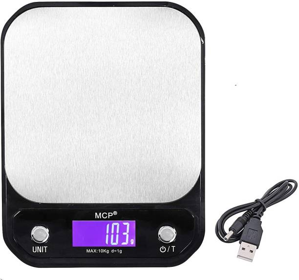 MCP Kitchen Weighing Machine Digital Stainless Steel Electronic LCD Food Weighing Scale Upto 10kgs Weight with AC Adaptor Weighing Scale