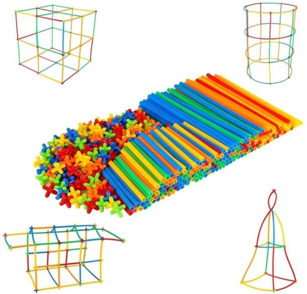 TechHark 200 PCS DIY Plastic Straw Brick Set Pipes Blocks Space Children Intelligence Plastic Pipe Blocks Building Toys Straws and connectors