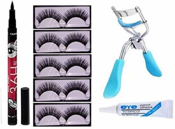 NC Cosmetic Fashion 5 False Eyelashes 1 curler 1 Glue 1 36 H eyeliner sketch waterproof