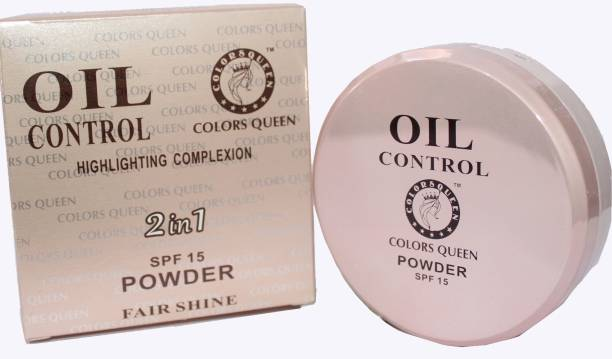 COLORS QUEEN 2in1 Fair Shine, Oil Control Highlighting Complexion Professional Make-up Powder Compact