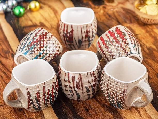 KIKI CREATION Pack of 6 Ceramic Square Shape 3D Doted Print Tea Cup Set of 6