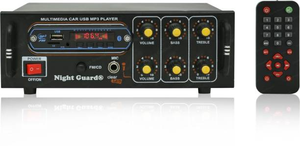 Night Guard NG-18 2 Channel High Power Stereo fm radio Amplifier with Big LED Display/Bluetooth/MIC Input/USB/SD Card Slot/FM Radio/AUX Input/Remote Control & Built-in Equalizer with Bass, Treble & Balance Control Power fm radio Amplifier. FM Radio