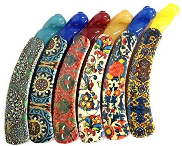 VAGHBHATT Banana Claw Hairpin Hair Clip Ponytail Holder Hair Accessories, Printed with Double Coated Plastic Hair Banana Clip for Girls/Women (Multi Colors) - Pack of 6 Hair Claw