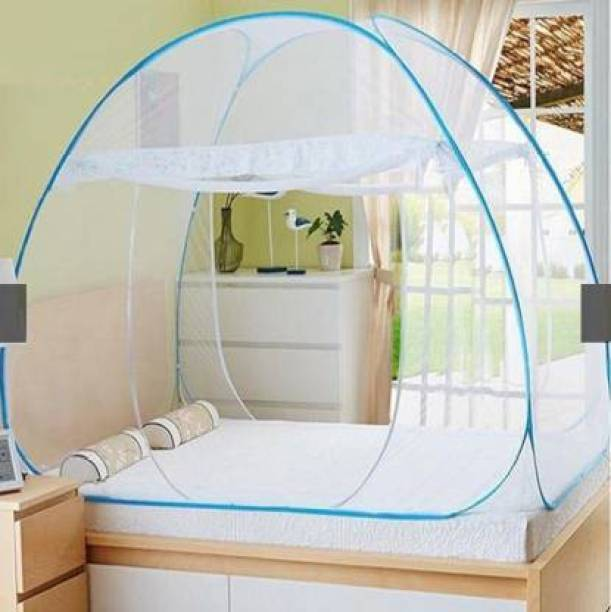 ArohiStore Polyester Infants Polyester Adults King Size Bed Double Bed Foldable Mosquito Net Blue Mosquito Net Mosquito Net