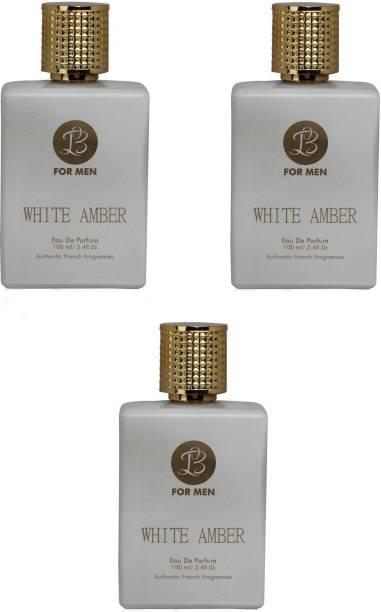Lyla Blanc WHITE AMBER Perfume Spray for Men- Pack of 3 (100ml each) Eau de Parfum  -  100 ml