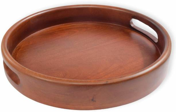 crafthub Wooden Round Tray Handmade and Handcraft Serving Multipurpose Tray for Kitchen Tray