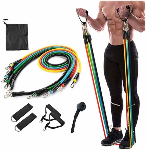 GORLERA Resistance Band/Toning Tube Set of 11 with Workout Chart Resistance Tube Fitness Band