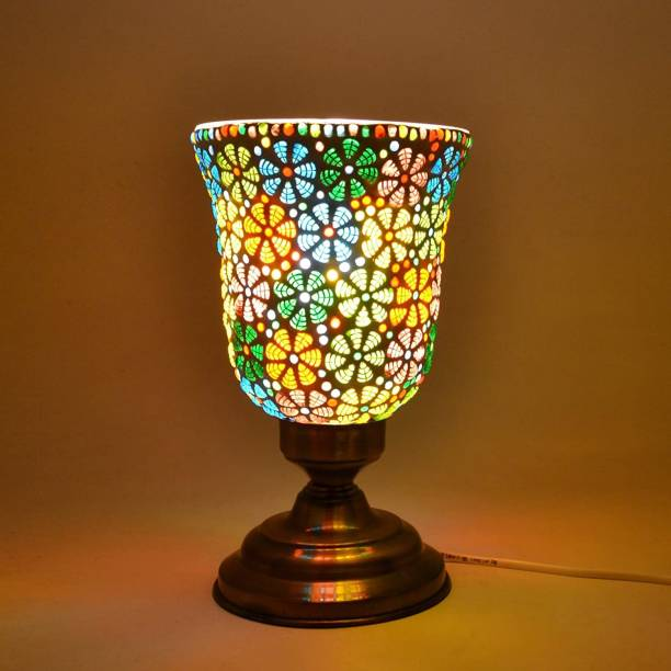DESHILP OVERSEAS Mosaic Table Lamp Aluminum Base Traditional Turkish Glass Shade Lamps Colorful Light for Home Decoration Table Lamp
