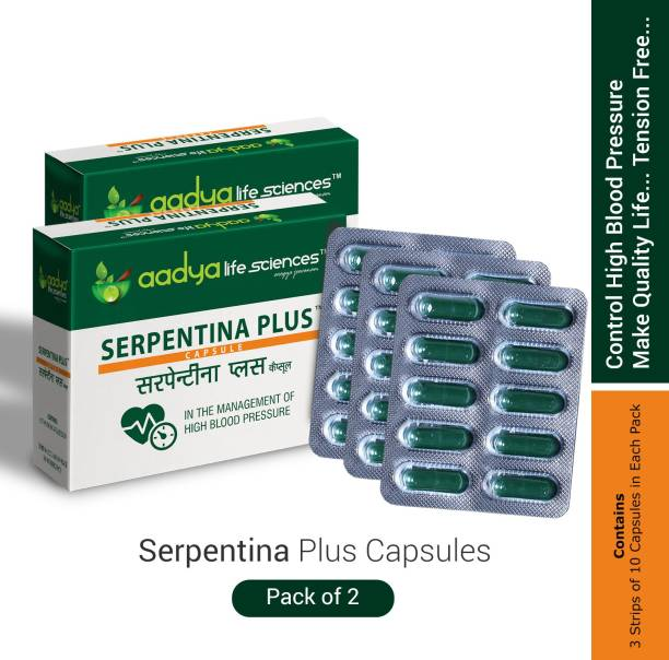 Aadya Life Serpentina Plus capsules, Works as a Comprehensive Cardio Protective