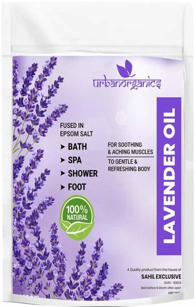 URBANORGANICS Epsom Bath Salt Enriched With Lavender Essential Oil for Bathing, Spa, Foot, Muscle Relief, Aches & Pains (900 Gram)