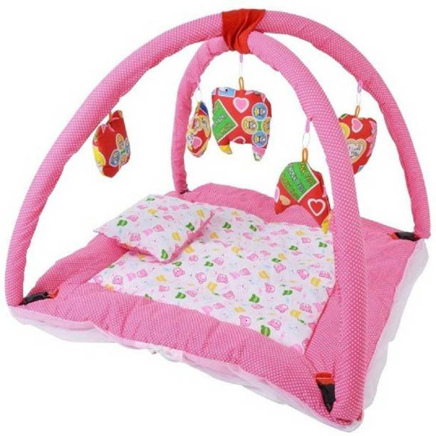 babique Cotton Infants BABY PLAY GYM WITH MOSQUITO NET (Pink, White) Mosquito Net