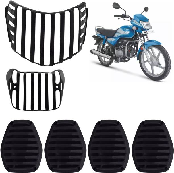 Ramanta Complete Plastic Grill Set of Headlight, Indicator & Taillight for HF Deluxe BS6 (Black, Set of 6) Bike Headlight Grill