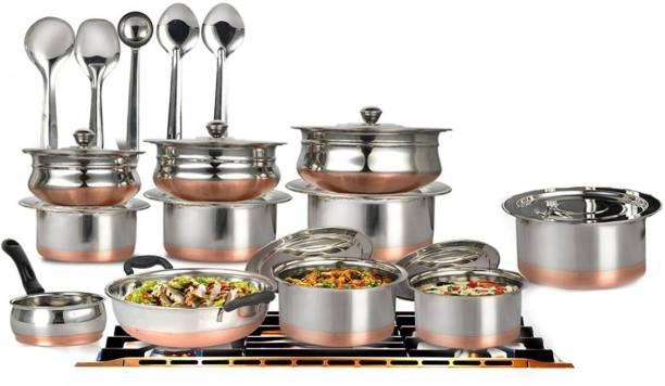 Mahavir 20 Pcs Copper Base Cook & Serve Set + 5 Pcs Kitchen Tools Cookware Set