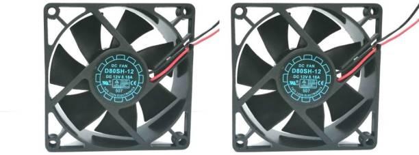 TechSupreme Pack of 2 Pack of 2 DC 12V Cooling Fan for DIY Incubator Cabinet Fan 3.5-Inch Cooler