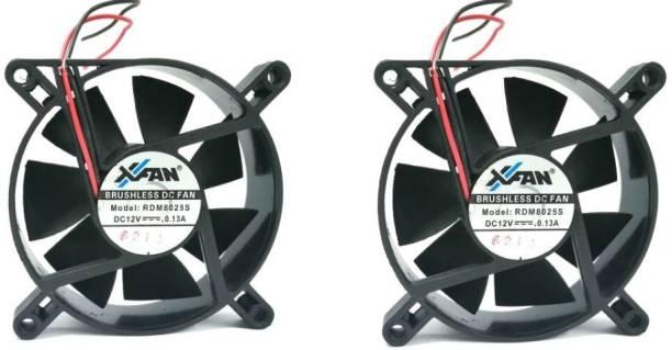 TechSupreme Pack of 2 DC 12V Cooling Fan for DIY Incubator Cabinet Fan 3.5-Inch Cooler