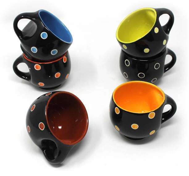 B2R Pack of 6 Ceramic, Bone China Stylish Ceramic Handcrafted Black Pari Dot Printed Microwave Safe Tea Cup/Coffee Cup Set Ideal Best Gift for Friends, Family, Home, Office use, Kitchen Cup Set (Set of 6, 130 ML)