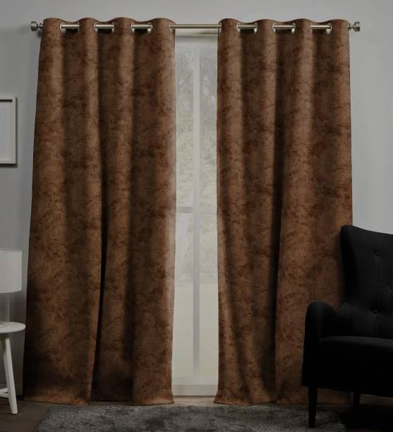 Rayna Decor 152 cm (5 ft) Velvet Window Curtain (Pack Of 2)