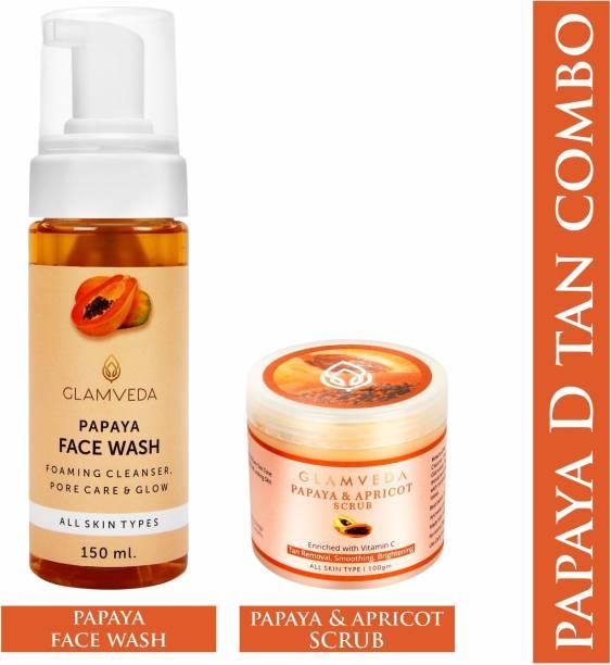 GLAMVEDA Papaya Pore Care & Anti Tan Kit (  150 ml+ Scrub 100 gm ) | 250 gm Face Wash