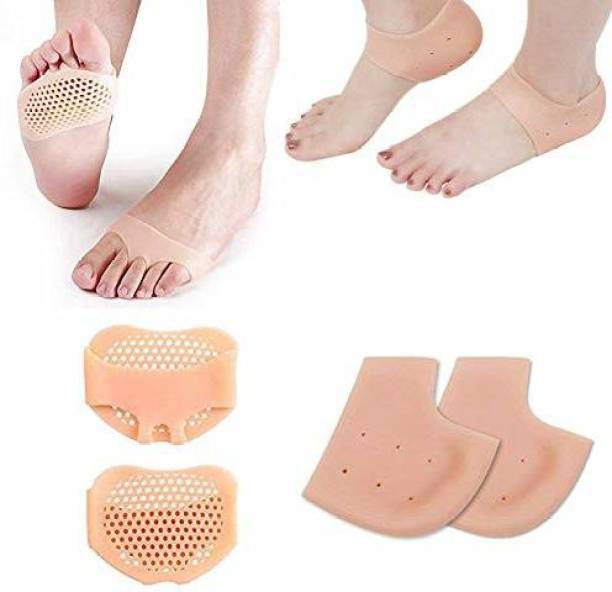 Shree Varni Enterprise Anti Crack Half Heel Silicone and Half Toe Sleeve Forefoot Pads For Pain Relief Heel Front