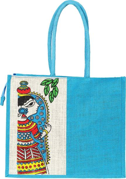 MARKET BAG with SLEEVE blue green carryall environmetn friendly cotton grocery bag with storage sleeve