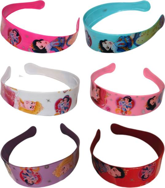 barakath Cartoon Barbie Doll Printed Plastic Daily Use Hair Band/Head Band Ware Fashion Accessories For Women's & Girl's (Pack Of 6) Head Band