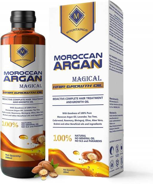 Mountainor Moroccan Argan Hair Oil Multipurpose Magical Hair Growth Oil with Pure 14 Essential Oils Like Argan, Lavender, Tea Tree, Rosemarry, Bhringraj, For Complete Hair Treatment (200 ml). Hair Oil