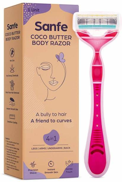Sanfe Coco Butter Body Razor for pain-free full-body hair removal - Stainless steel blade, safety cap, firm grip Cream
