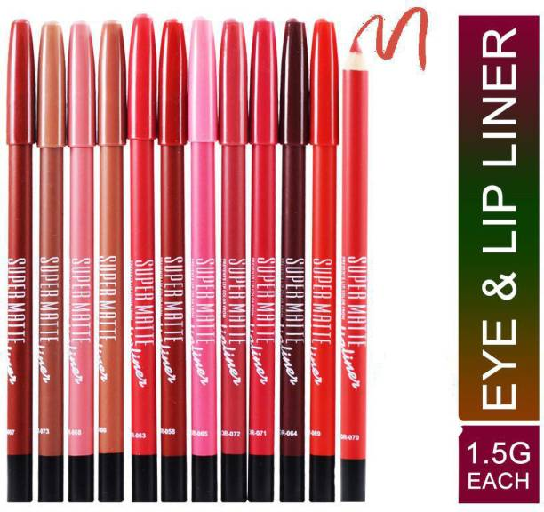 Shills Professional Super Matte 12PCs Eye & Lip Liner Pencil
