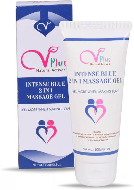 Vigini Plus 100% Natural Actives Intense Blue 2 in1 Lubricating Aromaherapy Lube Lubrication Lubricant Gel for Men Water Based gel Jelly No Added Colors Non Staining Wash able 100g Lubricant