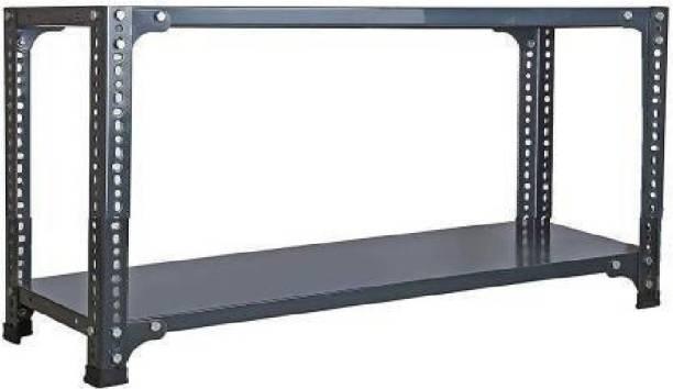 Spacious CRC Sheet 2 Shelf Multipurpose Slotted Angle Rack , 93336 (Grey) Luggage Rack Luggage Rack