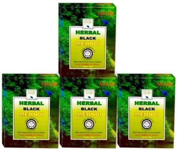 Khadi Mauri Kali Mehendi - Pack of 4 - Enriched with Amla - Natural Mehendi