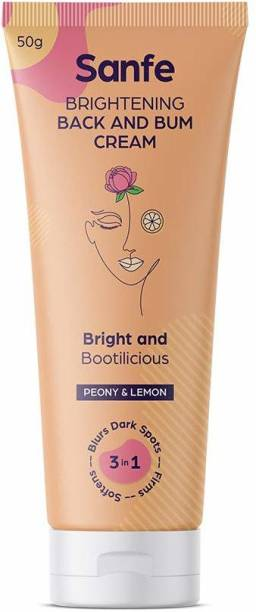 Sanfe Brightening Back and Bum Cream 50g - for uneven, dark and patchy bum and back - Natural Peony, Licorice and Lemon extracts with Vitamin E