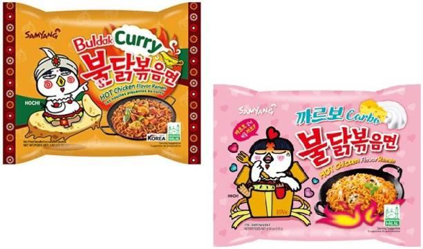 Samyang Curry Noodles -140 g & Carbo Noodles - 130 g(Pack of 2) (Imported) Instant Noodles Non-vegetarian