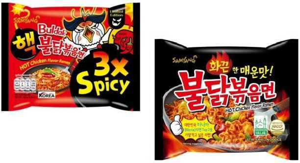 Samyang Stir Fried Noodles -140 g & 3X Spicy Noodles - 140 g(Pack of 2) (Imported) Instant Noodles Non-vegetarian