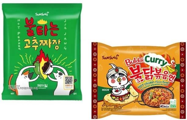 Samyang Hot Pepper Jijang - 140 g & Curry Noodles -140 gm(Pack of 2) (Imported) Instant Noodles Non-vegetarian