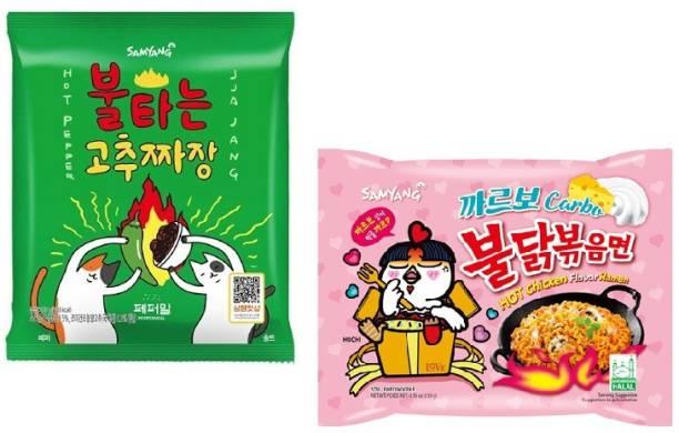 Samyang Hot Pepper Jijang - 140 g & Carbo Noodles -130 gm(Pack of 2) (Imported) Instant Noodles Non-vegetarian