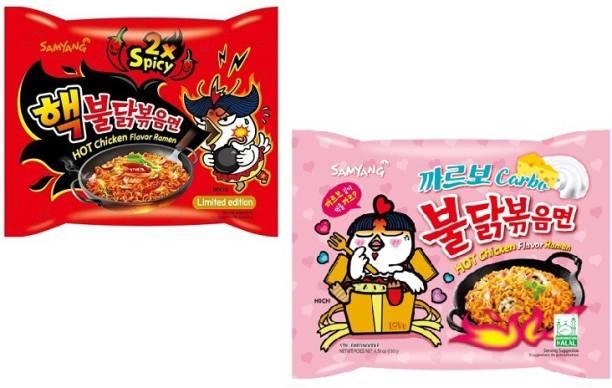 Samyang 2X Spicy Noodles -140 g & Carbo Noodles - 130 g(Pack of 2) (Imported) Instant Noodles Non-vegetarian