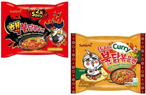 Samyang 2X Spicy Noodles -140 g & Curry Noodles- 140 g(Pack of 2) (Imported) Instant Noodles Non-vegetarian
