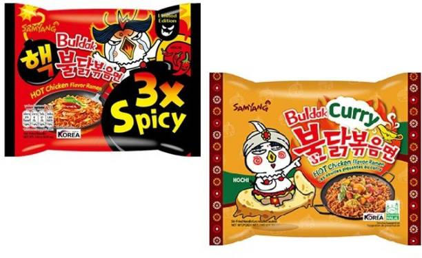 Samyang 3X Spicy Noodles- 140 g & Curry Noodles -140 gm(Pack of 2) (Imported) Instant Noodles Non-vegetarian