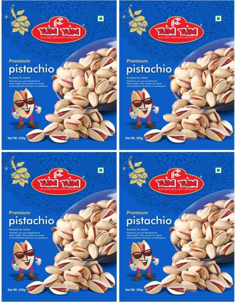 YUM YUM Premium Roasted & Salted Pista 1kg (Pack of 4 -250g Each) Pistachios