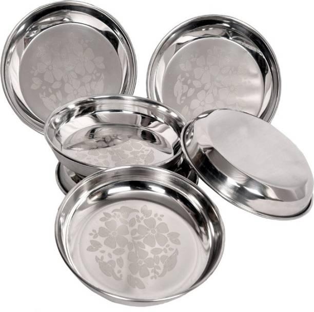 LIMETRO STEEL 6 Pcs Heavy Gauge Stainless Steel Laser Halva Plates / Breakfast Plates / Serving Plates BF1 (Diameter : 17 cm , 12 Pieces) Quarter Plate