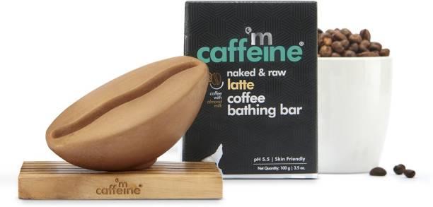 MCaffeine Naked & Raw Latte Coffee Bathing Bar Soap (pH 5.5) for Moisturization with Almond Milk