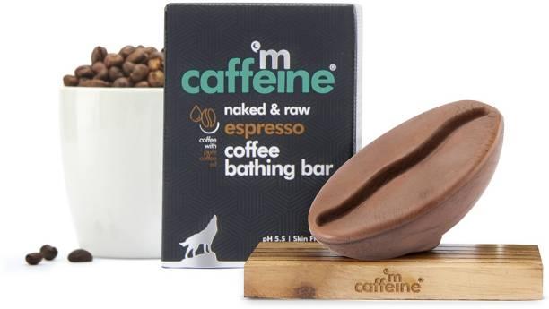 MCaffeine Naked & Raw Espresso Coffee Bathing Bar Soap | Deep Cleansing | Pure Coffee Oil, Vitamin E | Ph 5.5, Skin Friendly