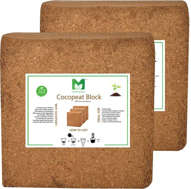 MyOwnGarden COCOPEAT 5KG BLOCK ( Coirpith or Coco fibre or Coco Peat) for Kitchen and Terrace Gardening Manure Manure