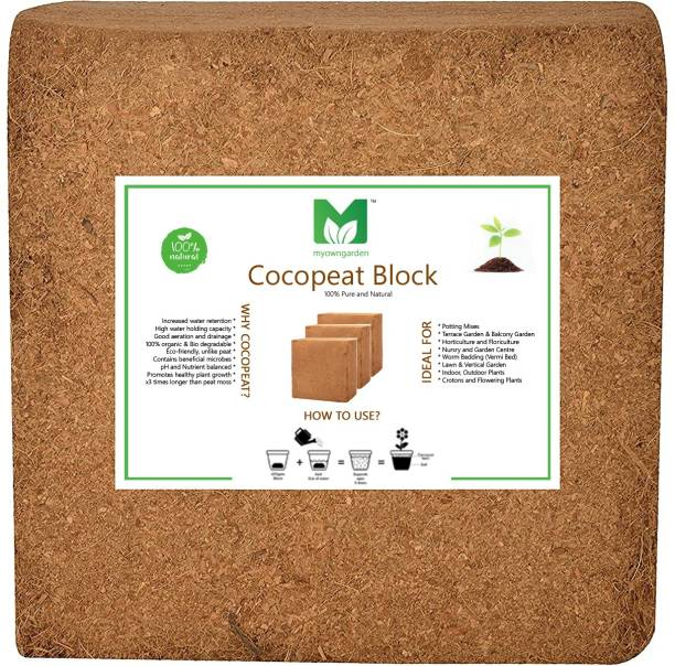 MyOwnGarden COCOPEAT 5KG BLOCK for Kitchen, Balcony, Terrace Garden 100% Natural & Organic Soil Manure. Manure